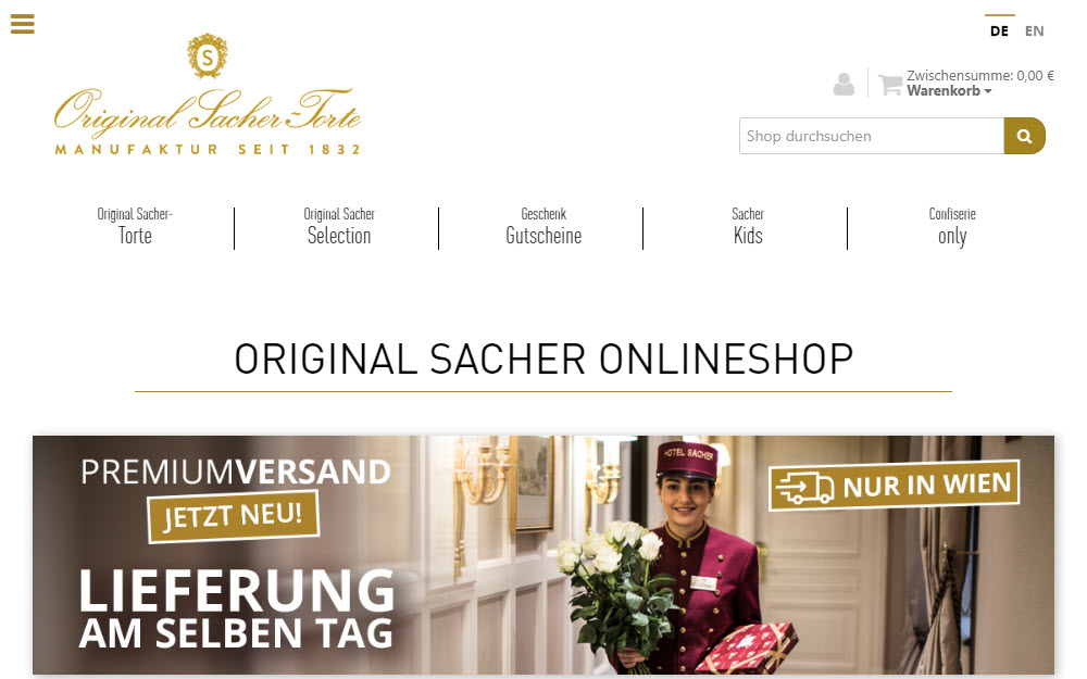 Sacher Onlineshop