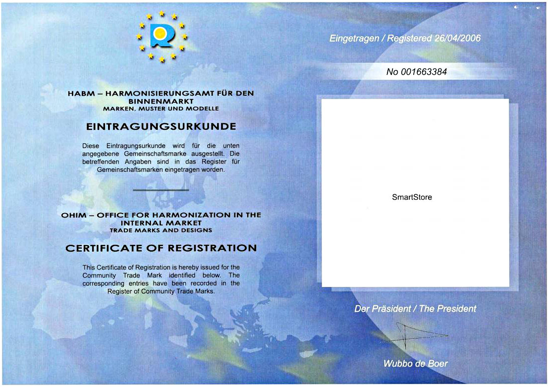 Smartstore Certificate of registration Office for Harmonisation Alicante