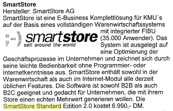 "Development launch of the e-commerce product line ""Smartstore Standard"""