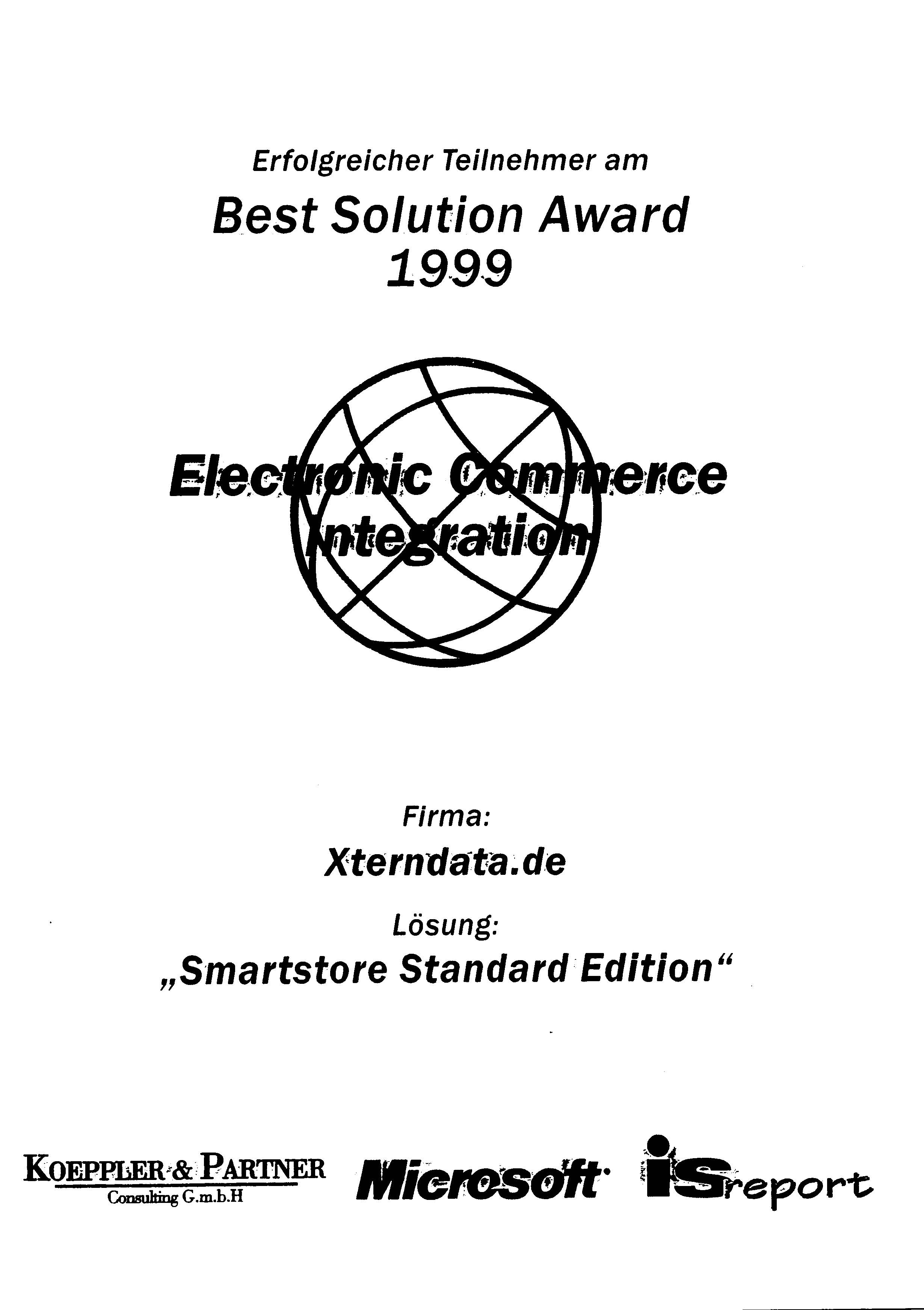 Presentation of the Best Solutions Award 1999 for eCommerce Integration by Microsoft